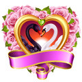 Hearts, roses and swans Royalty Free Stock Photo