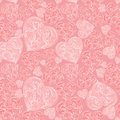 Hearts seamless background in vintage style love valentine day pattern abstract pink vector Stock Image