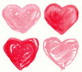 Hearts set of handmade painting illustration Stock Images
