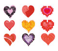 Hearts set of nine stylized Royalty Free Stock Photo