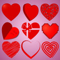 Hearts set for Valentine`s Day on rose background