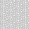 Hearts shapes romantic seamless pattern on grey background