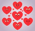 Hearts smiles application for a scrapbooking vector cartoon illustration Royalty Free Stock Photography