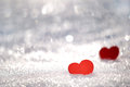 Hearts in snow Stock Photography
