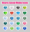 Hearts Social Media Icons 2 Stock Photo