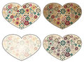 Hearts with spring floral patterns Royalty Free Stock Photography