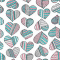 Hearts and stripes hand drawn abstract pattern. Vector colorful love seamless background.