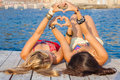 Hearts for summer vacation or holiday teens sign Royalty Free Stock Photos