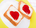 Hearts on toast in white plate Royalty Free Stock Photography