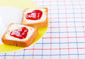 Hearts on toast in white plate Royalty Free Stock Image