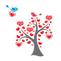 Hearts tree and birds in love Royalty Free Stock Image