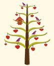 Hearts tree birds a stylized with and a birdhouse Royalty Free Stock Images