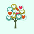 Hearts tree with multicolored elements Stock Image
