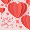 Happy valentines day typography vector illustration design with paper cut red heart shape origami made hot air balloons flying in