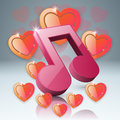 Hearts Valentines day. Notr, music icon.
