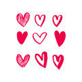 Hearts vector art red icons pattern for Valentine day Royalty Free Stock Photo