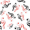 Hearts violin clef seamless Royalty Free Stock Photo