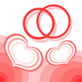 Hearts and wedding rings Stock Images