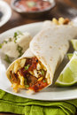 Hearty chorizo breakfast burrito with eggs cheese and hashbrowns Royalty Free Stock Photography