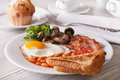 A hearty English breakfast close-up on a plate. Horizontal Royalty Free Stock Photo