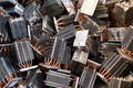 Heat pipes sinks lying in a heap in a recycling facility Royalty Free Stock Image