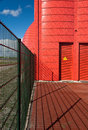 Heat transfer station in almere the netherlands a detail and gate of red Stock Photo