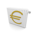 Heater cost with an euro symbol Royalty Free Stock Image