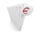 Heater cost and euro symbol in red Royalty Free Stock Images