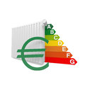 Heater cost and euro symbol in red Stock Photo