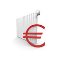 Heater cost and euro symbol in red Royalty Free Stock Photo