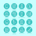 Heater, water boiler, thermostat, electric, gas, solar heaters and other house heating equipment line icons. Thin linear Royalty Free Stock Photo