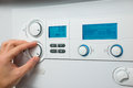 Heating boiler control panel of the gas for hot water and Stock Photo