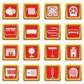 Heating cooling air icons set red