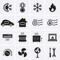 Heating and cooling icons vector Stock Photo