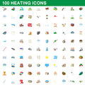 100 heating icons set, cartoon style