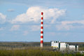 Heating plant with high chimney landscape Royalty Free Stock Images