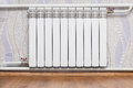 Heating radiator in room Royalty Free Stock Photo