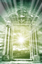Heaven archway fantasy scenery with light rays Stock Photos