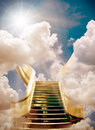 Heaven golden stairway to background Stock Image