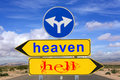 Heaven and hell road sign warning Royalty Free Stock Photo