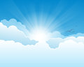 Heaven sky with clouds and sun with rays Royalty Free Stock Photography