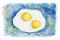 Heavenly flying fried eggs two persons abstract concept isolated handmade watercolor painting illustration white paper art Royalty Free Stock Photography