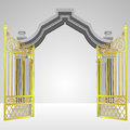 Heavenly gate open gold fence vector illustration Stock Photos