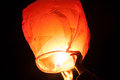 Heavenly lantern photo of a burning big at night Stock Photography