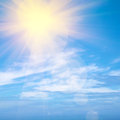Heavenly sky blue with bright sunshine and light beams Stock Photos