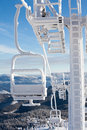 Heavily frozen chairlift at dragobrat ski resort ukraine Stock Photos