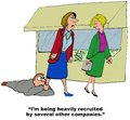 Heavily recruited business cartoon of boss hanging onto manager s leg i m being by several other companies Stock Image