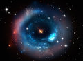 Heavy black hole front view universe background Royalty Free Stock Photo