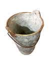 A heavy cement pot with rusty handle Royalty Free Stock Photo