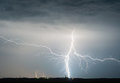 Heavy clouds bringing thunder, lightnings and storm Royalty Free Stock Photo